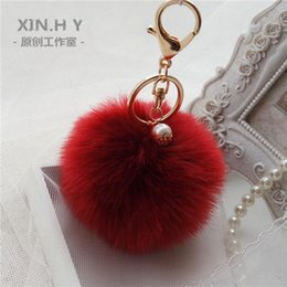 Wholesale Wholesale Pearl Keychain - Gold Rabbit Fur Ball Keychain fur pom pom Keychain fur keyring porte clef llaveros Pearl Key Chain For Bag Charm navidad regalos
