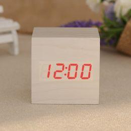 Wholesale Wooden Desk Calendars - Wholesale- Modern Cube Wooden Digital Clock Square LED Desk Voice Control Alarm Thermometer