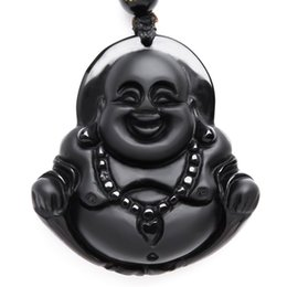 Wholesale Smiling Buddha Pendant - NEW Natural Obsidian necklace Fashion black smile Maitreya Buddha pendant For women men Vintage jade jewelry ornament Free roppe