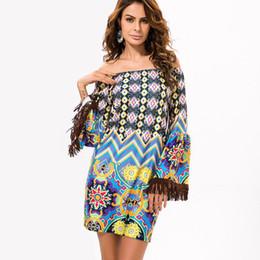 Wholesale Bell Robe - Newly European Style Robe Dress Flower Print Woman Clothes Vestidos Casual Bohemian Female Beach Summer Night Club Party Dress