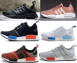 Wholesale Light Gray Red Sport Shoes - 2018 new Wholesale Discount Cheap pink red gray NMD Runner R1 Primeknit PK Low Men's & Women's shoes Classic Fashion Sport Shoes