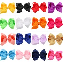 Wholesale Large Bowknot - 16 color Fashion Baby Ribbon Bow Hairpin Clips Girls Large Bowknot Barrette Kids Hair Boutique Bows Children Hair Accessories