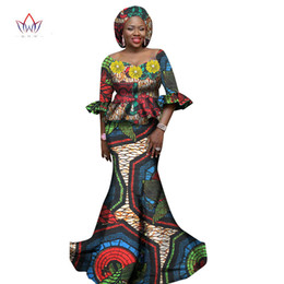 Wholesale Strapless Cotton Long Maxi Dress - Women African Clothing Women Dress Set 2 Piece Tops and Long African Skirts Maxi Dress Club Dress Dashiki Print Dresses WY1178