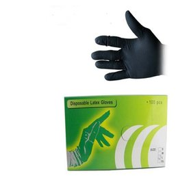 Wholesale Disposable Latex Gloves Tattoo - Hot Sales 100Pcs lot Black Disposable Tattoo Latex Gloves Size M for Tattoo accessories Free Shipping