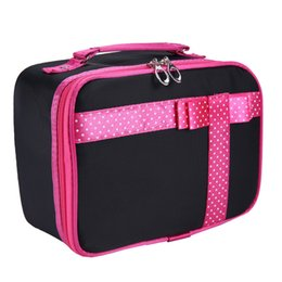 Wholesale Wholesale Makeup Box Cases Professional - Wholesale- New High Capacity Women Bag Cosmeticos Bowknot Cute Cosmetic Cases Bags Professional Makeup Box Handbags Organizer Pouch zb-017