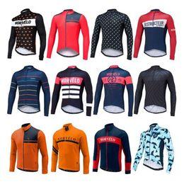 Wholesale Thermal Set Women - 2017 Morvelo Cycling Jerseys Set Long Sleeves Autumn Winter Thermal Fleece MTB Ropa Millot For Men Women Size XS-4XL 12 Colors