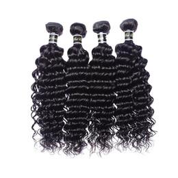 2019 mejor cabello humano libre de enredos Sin procesar 7A Indian Deep Wave Hair 4 Bundles Indio crudo profundo rizado cabello humano indio ondulado Natural Hair Extension