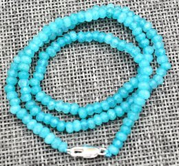 """Wholesale Faceted Gemstones - New 2x4mm Faceted Aquamarine Handmade Gemstone necklace 18 """"Silver clasps AAA"""