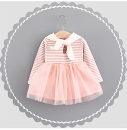 Wholesale Tulle Bow Stripe - Sweet Girls Bow Tie Cotton Stripe Tulle Dresses 2017 Fall Kids Boutique Clothing Korean 1-4T Baby Girls Long Sleeves Tutu Dresses