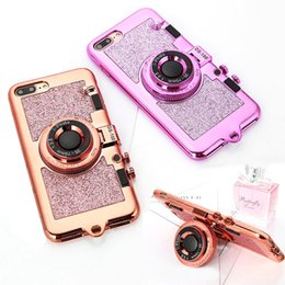 Fotocamere coreane online-Coreano 3D Retro Camera Phone TPU Custodie per iphone 7 6 6 S Plus Custodia Lusso Galvanotecnica Soft Cover Stand Specchio Holder con cordino