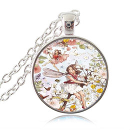 Wholesale Long Glass Flowers - Flower Fairies Photo Necklace Angel Pendant Butterfly Bird Jewelry Glass Cabochon Long Chain Sweater Neckless Women Girls Accessories