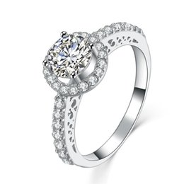 Wholesale Antique Solid Silver - Antique 1Ct Round Cut Synthetic Diamond Wedding Female Ring Solid 925 Sterling Silver Ring White Gold Plated Jewelry