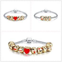 Wholesale Cartoon Beaded Bracelets - Top Quality Cartoon Smile Face Bracelet 17-21cm Length Alloy Environmental King Bracelet Fashion Design For Women & Girls Free Shipping