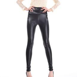 Wholesale Metallic Waist Black Leather Leggings - Wholesale- Candy Color Leather Looking Legging Fashion Sexy Shiny Metallic High Waist Black Stretchy Leather Leggings Pants