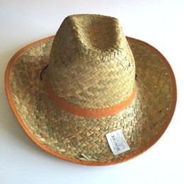 Wholesale Handmade Party Hats - 2017 Summer Unisex Western Handmade Australian Cowboy Straw Sun Hat Men Beach Wide Color Brim Cowgirl Cap 10pcs lot