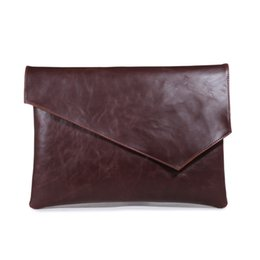 Wholesale men leather totes clutch handbag - England Style New Leather Men Envelope Handbag Vintage Clutch Brown Black Large A4 Briefcase Ipad Business Bags Free Shipping