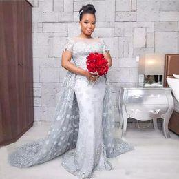 Wholesale Detachable Shirt Lace Wedding Dress - 2017 Cheap Overskirts lace Wedding Dresses with detachable train Robe De Mariage Long Column low back Saudi Arabia bateau neck Wedding Gown
