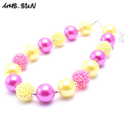 Wholesale Silver Necklace Yellow - MHS.SUN Fashion Yellow+Hot Pink Color Kid Chunky Necklace Designable Children Bubblegum Bead Chunky Necklace Jewelry For Toddler Girls