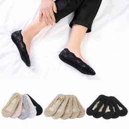 Wholesale Thin Cotton Slippers - Ladies Socks Slipper Socks Women Ladies Skin Shoe Liners Footsies Invisible Thin Lace Socks Sheer New