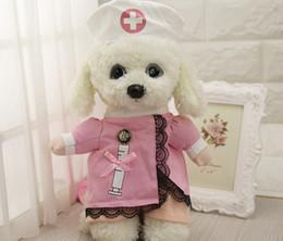 Wholesale Hot Nurse Uniform - Funny Nurse Suit Pet Costume Dog Clothes Pet Cat Coat Party Clothing for Dogs Hot Puppy Nurse Uniform + Hat Attire
