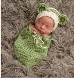 Wholesale Infant Knitted Costumes - Newborn Baby Photography Props Hat Clothing Set Infant Knit Crochet Costume Soft Outfits Baby Photo Wear Accessories