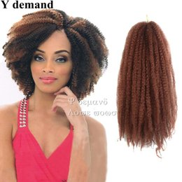 Wholesale Burgundy Afro - Afro Kinky Twist Hair Crochet Braids 13 Colors Ombre Marley Braid Hair 16inch Senegalese Curly Crochet Synthetic Braiding Hair