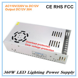 Wholesale Single Led Price - High Efficiency DC12V 30A 360W Switch Power Supply AC110V 120V 220V 240V Input to DC Single Output LED Transformer Factory Price
