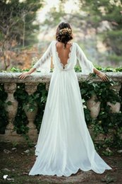 Wholesale Simple Long Train Wedding Dresses - Sexy Ivory Lace 3 4 Long Sleeve Backless Bohemian Wedding Dresses 2016 Summer Court Train Ruched Chiffon Plus Size Beach Bridal Gowns