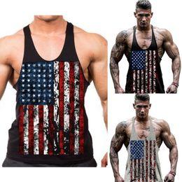 Wholesale Usa Flag Vest - Summer Men's Tank Tops USA Flag Men Tank Tops Vest Raglan Tank Top Sports Workout Meing Vest N Muscle Bodybuildtop