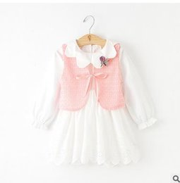 Wholesale Girls Piece Suit Cardigan - Girls princess outfits Kids Knitting bows tie Cardigan vest+doll collar flare sleeve pleated dress 2pcs sets 2017 Girls suits G0581