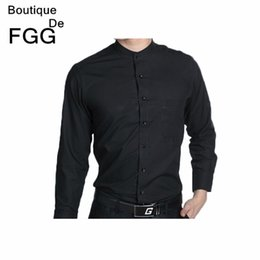 Wholesale Men Wedding Prom Groom Shirts - Wholesale- Mens Wedding Dress Party Prom Groom Black Chinese Tranditional Mandarin Collar Shirts Long Sleeve Slim Men Business Formal Shirt