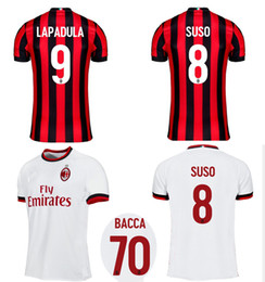 Wholesale Sportswears Men - 2017 2018 AC MILAN Home Away Soccer Jerseys 17 18 SUSO BACCA BONUCCI BIGLIA Football Shirts Mens Top Thai Quality Outdoor Sportswears