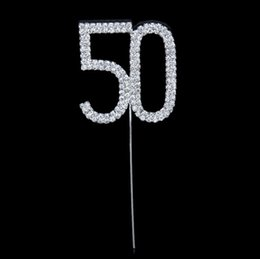 Wholesale Diamante Cake Toppers - Wholesale-New style Silver Rhinestone Crystal Diamante Number 50 Cake Topper Birthday Party Anniversary 4.5*5cm