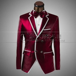 Wholesale Clothes For Prom - Wholesale- Double Breasted Wine Red Style Men's Suits Blazers Slim Fit Stage Male Singer Clothing Prom For Men Groom Wedding Tuxedo Sui