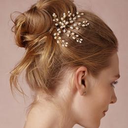 Wholesale Gold Jewelrys - beijia Gold Freshwater Pearls Hair Pin Bridal Hair Accessories Jewelry Handmade Wedding Headpiece Women Jewelrys