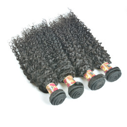 Wholesale Wholesale Black Natural Hair Products - Malaysian Hair Products Malaysian Curly Hair Natural Black Color Malaysian Afro Kinky Curly Virgin Human Hair Extensions 4 Bundles