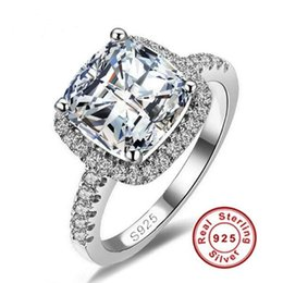 Wholesale sona diamonds - 2017 New US GIA certificate SONA diamond drill three generations IJ color 3 carats, platinum -plated sterling silver women ring