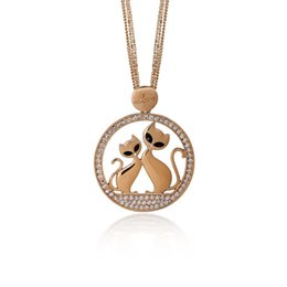 Wholesale Multi Crystal Necklace - Love Couple Cats Necklace Women Multi Chain Crystal Silver Rose Gold Plated Round Animal Pendant Long Necklaces Jewelry XL07372