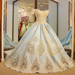 Wholesale Gold Satin Evening Gowns - 2017 Real Photos Ball Gown Prom Dresses Arabic Sparkly Crystals Sky Blue Satin Formal Occasion Dress Hollow Gold Lace Evening Gowns