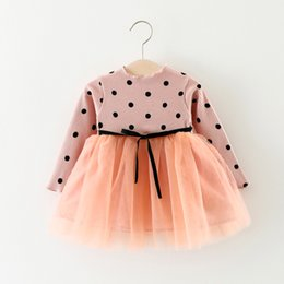 Wholesale Dots Gauze Dress - 4 color INS styles new arrival Girl dress kids spring autumn round dot printed Cotton and gauze patchwork Dress girl casual elegant dress