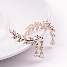 Wholesale Earring Needles - European and American jewelry zircon leaves asymmetric stealth cushion s925 earrings silver needles zircon zircon earrings female double tas