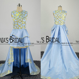 Wholesale Line Dress Evening Feathers - 2017 Real Images Hi Lo Prom Dresses Gold and Light Blue Ruffle Skirt with Court Train Evening Gowns
