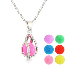 Wholesale Aroma Pendant Necklace Wholesale - Hollowout Aroma Waterdrop Essential Oil Diffuser locket Necklace Locket Pendant 316L Stainless Steel Jewelry Free 6 Washable Ball NE684