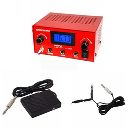 Wholesale Red Foot Pedal - Wholesale-Crazy Tattoo Power Supply Hot Sales Red Dual Digital Tattoo Power Supply Unit Set with Plug Clip Cord Foot Pedal Free Shipping