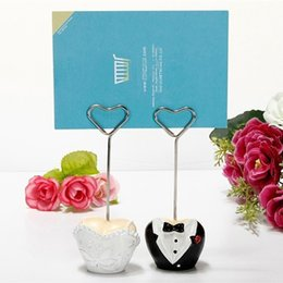 Wholesale Dress Shaped Cards - Wedding Party Decoration Heart Shape Bride and Groom Full Dress Place Name Card  Photo Holders Love Table Number Clip+DHL Free Shipping