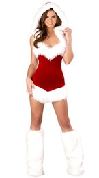 Wholesale Mrs Santa Fancy Dress - Miss Santa Claus Costume Womens Mrs Father Christmas Xmas Fancy Dress Outfit VLS035