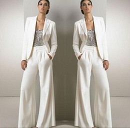 Wholesale Plus Size Sheer Pants - 2018 White Three Pieces Mother Of The Bride Pant Suits For Silver Sequined Wedding Guest Dress With Jackets Plus Size