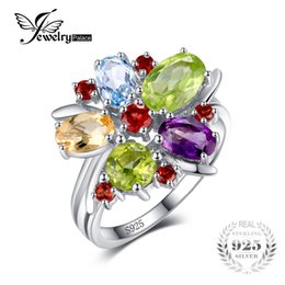 Wholesale Natural Citrine Rings - JewelryPalace Flower Multicolor 3.1ct Natural Amethyst Garnet Peridot Citrine Blue Topaz Cocktail Ring 925 Sterling Silver Ring