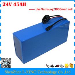Wholesale 24v Bicycle - Free customs duty 24V lithium battery pack 24V 45AH scooter battery 24V bicycle battery use Samsung 3000mah cell with 3A Charger