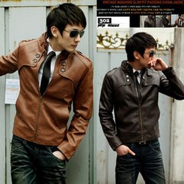 Wholesale Cheap Motorcycle Stands - Wholesale- 2016 spring autumn new Korean version hot sale fashion Slim casual men's Stand collar zipper motorcycle leather Cheap wholesale